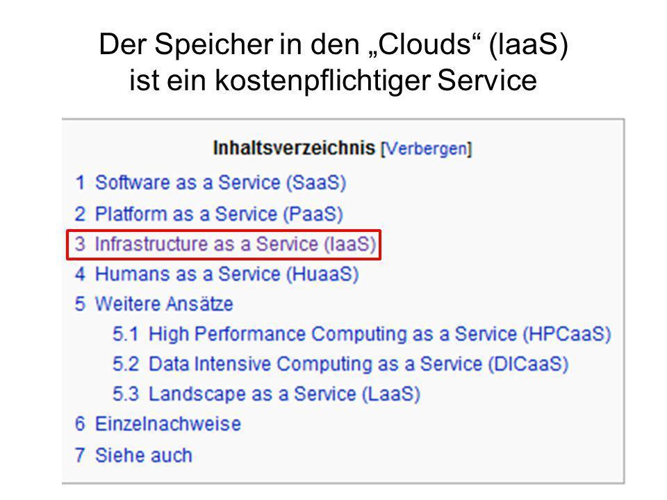 """Der Speicher in den """"Clouds (laaS) ist ein kostenpflichtiger Service"""