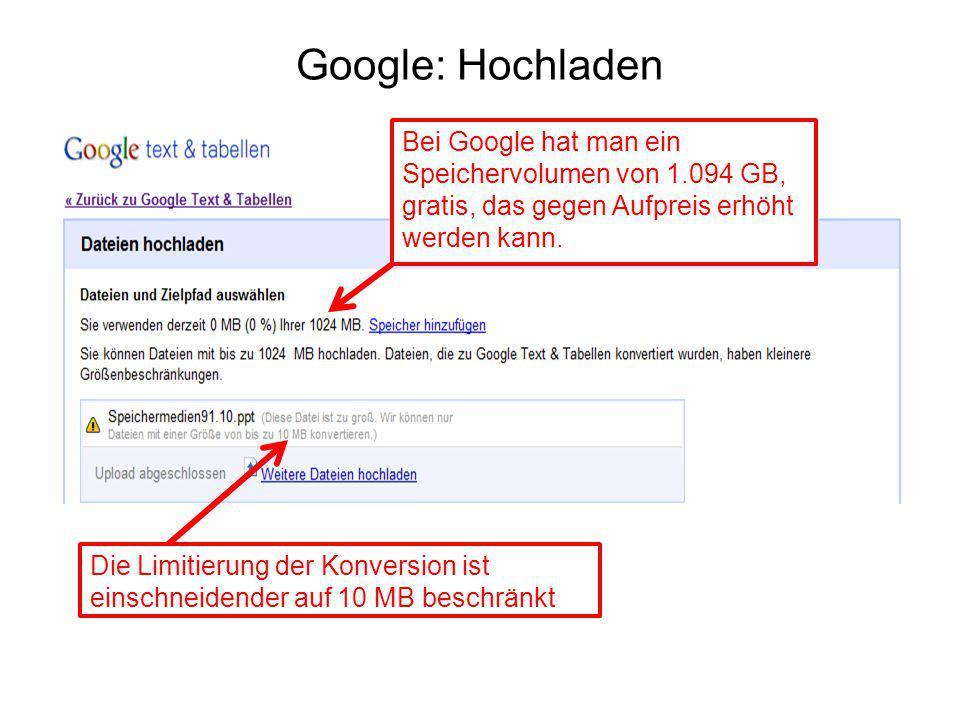 Google: Hochladen Bei Google hat man ein Speichervolumen von 1.094 GB,