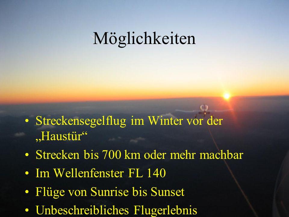 """Möglichkeiten Streckensegelflug im Winter vor der """"Haustür"""