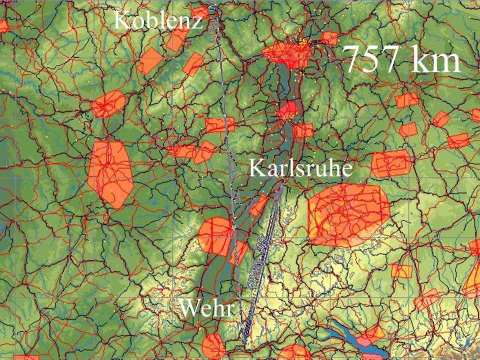 Koblenz 757 km Karlsruhe Wehr