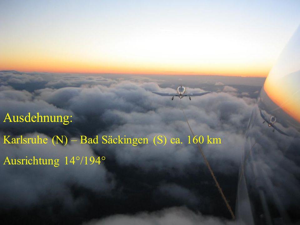 Ausdehnung: Karlsruhe (N) – Bad Säckingen (S) ca. 160 km