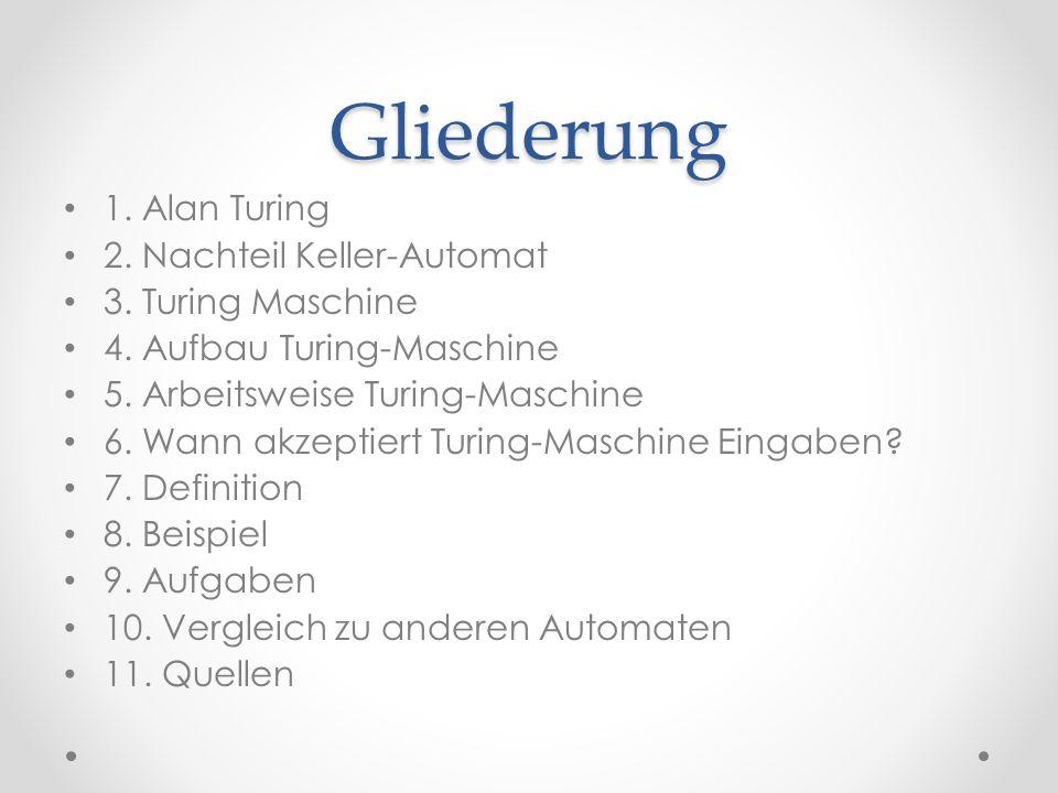 Gliederung 1. Alan Turing 2. Nachteil Keller-Automat