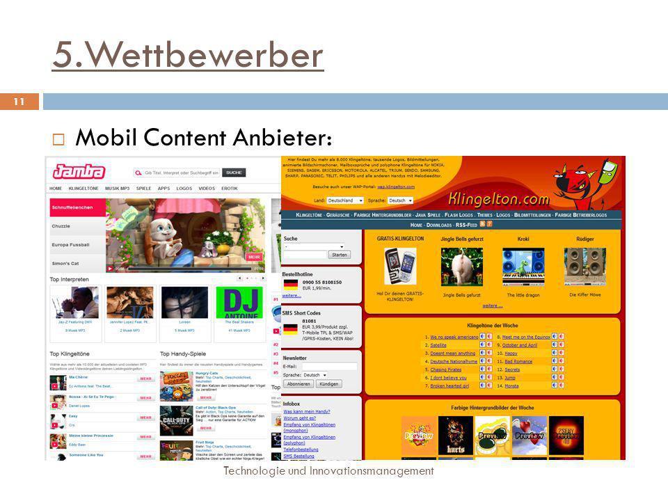 5.Wettbewerber Mobil Content Anbieter: