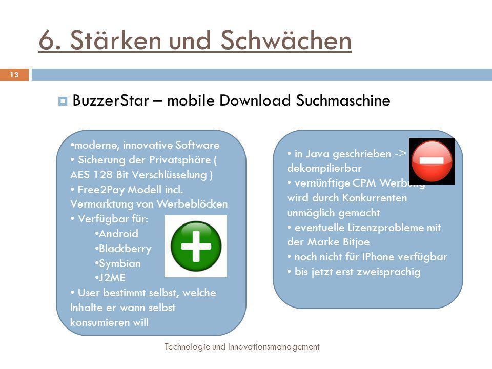 6. Stärken und Schwächen BuzzerStar – mobile Download Suchmaschine