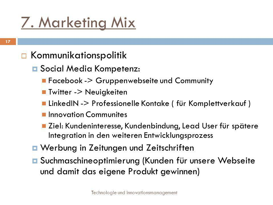 7. Marketing Mix Kommunikationspolitik Social Media Kompetenz: