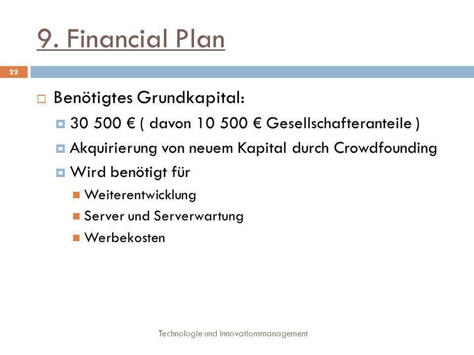 9. Financial Plan Benötigtes Grundkapital: