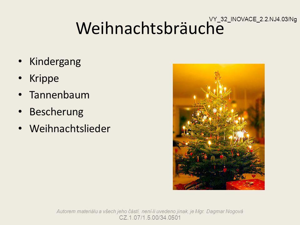 Weihnachtsbräuche Kindergang Krippe Tannenbaum Bescherung