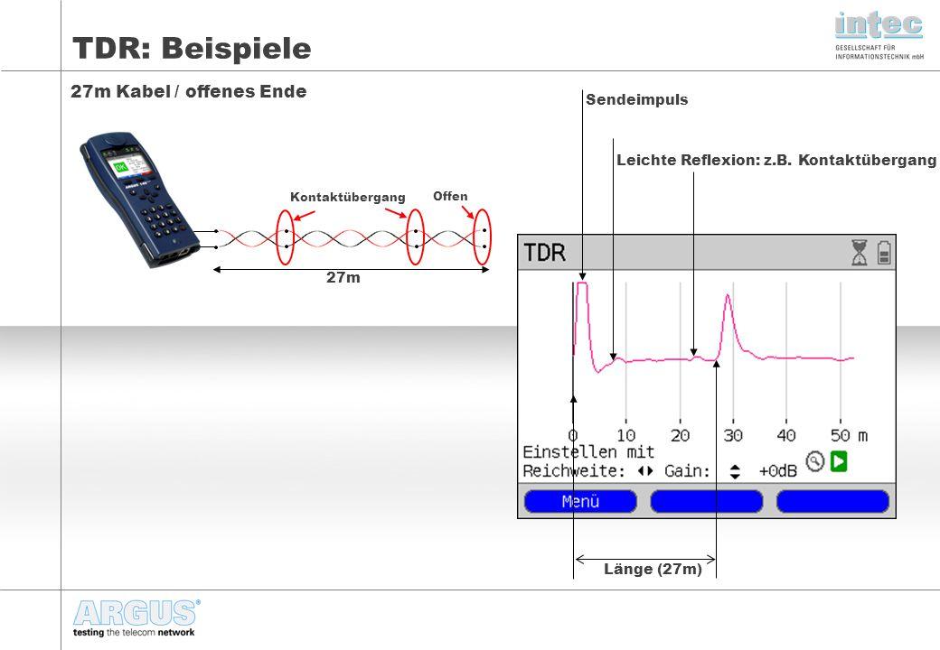 TDR: Beispiele 27m Kabel / offenes Ende Sendeimpuls