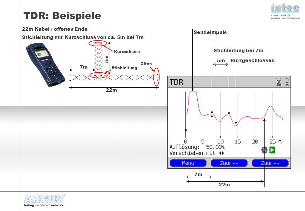 TDR: Beispiele 22m Kabel / offenes Ende Stichleitung mit Kurzschluss von ca. 5m bei 7m. Sendeimpuls.