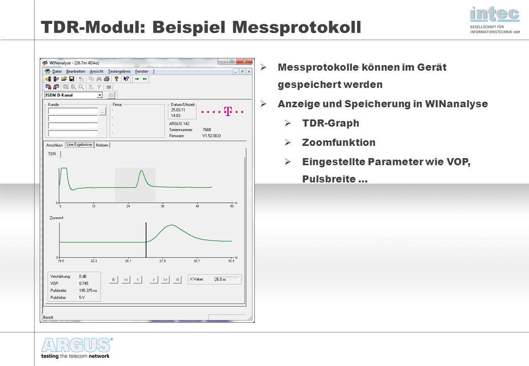 TDR-Modul: Beispiel Messprotokoll