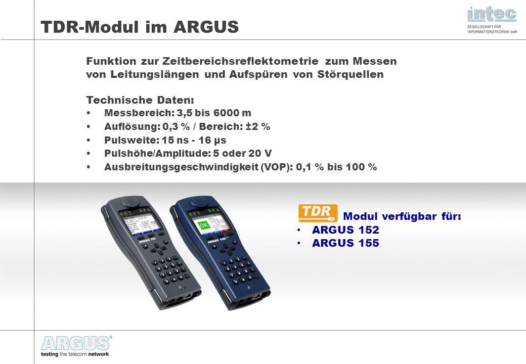 TDR-Modul im ARGUS Funktion zur Zeitbereichsreflektometrie zum Messen