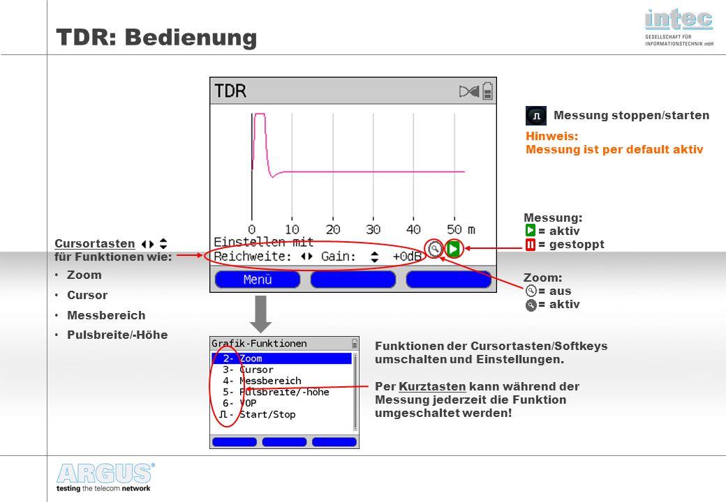TDR: Bedienung Messung stoppen/starten