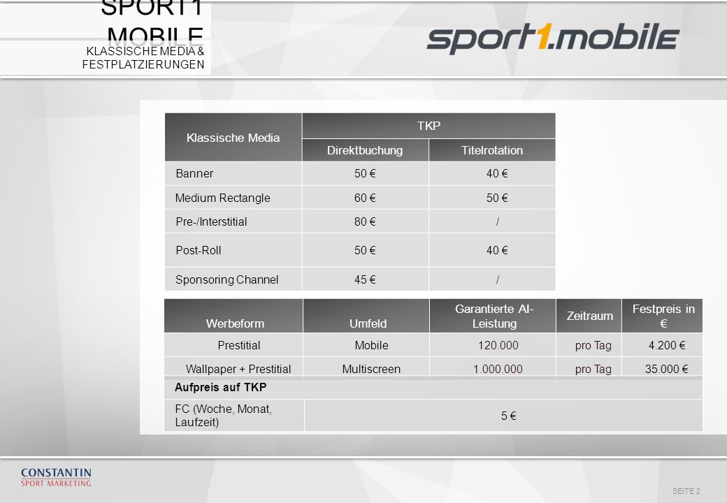 Sport1 Mobile Klassische Media TKP Direktbuchung Titelrotation