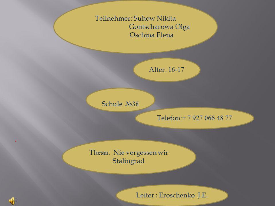 . Teilnehmer: Suhow Nikita Gontscharowa Olga Oschina Elena