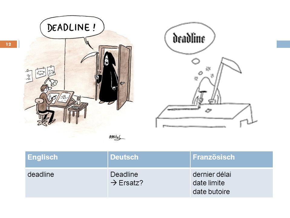 Englisch Deutsch Französisch deadline Deadline dernier délai à Ersatz date limite date butoire