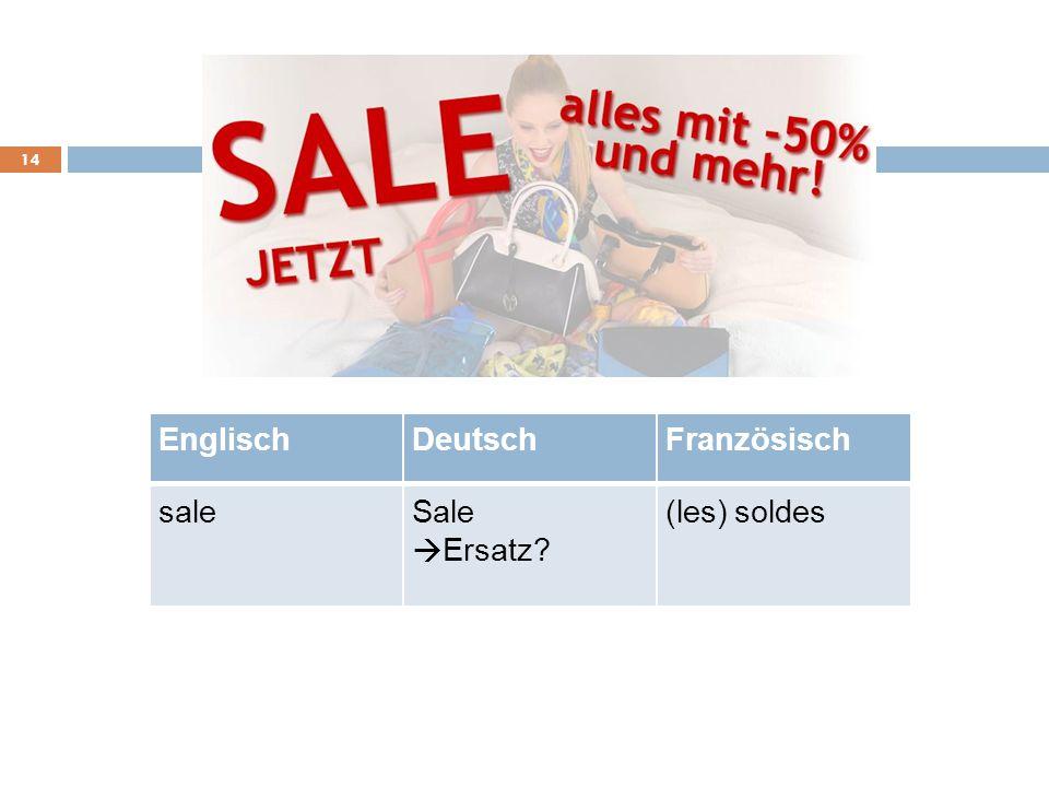 Englisch Deutsch Französisch sale Sale (les) soldes à Ersatz