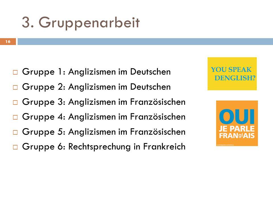 3. Gruppenarbeit Gruppe 1: Anglizismen im Deutschen