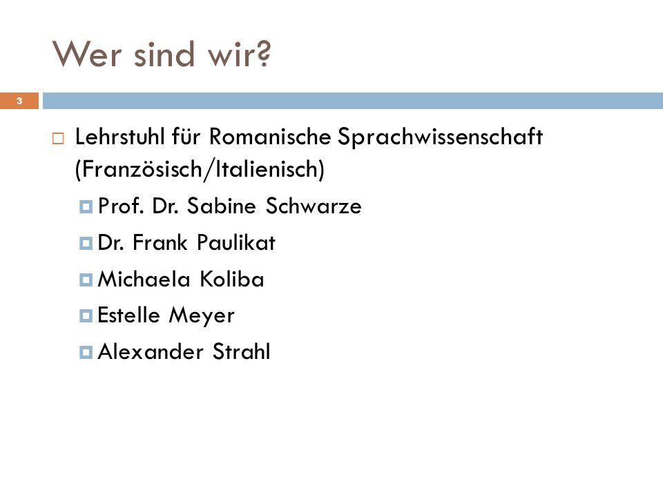 Wer sind wir Lehrstuhl für Romanische Sprachwissenschaft (Französisch/Italienisch) Prof. Dr. Sabine Schwarze.