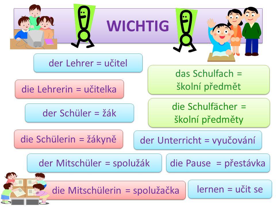WICHTIG der Lehrer = učitel das Schulfach = školní předmět