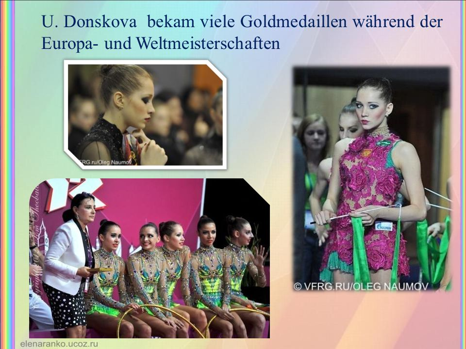 U. Donskova bekam viele Goldmedaillen während der Europa- und Weltmeisterschaften