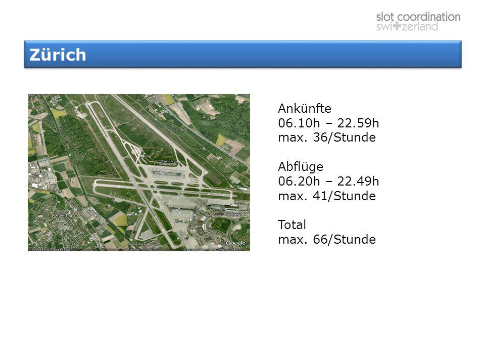 Zürich Ankünfte 06.10h – 22.59h max. 36/Stunde Abflüge 06.20h – 22.49h