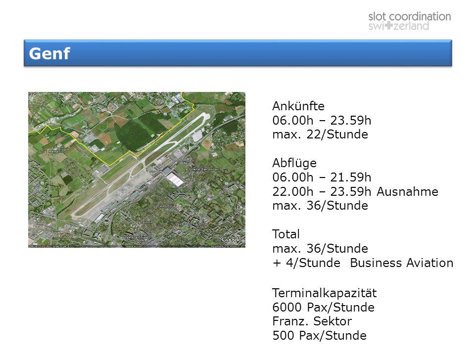 Genf Ankünfte 06.00h – 23.59h max. 22/Stunde