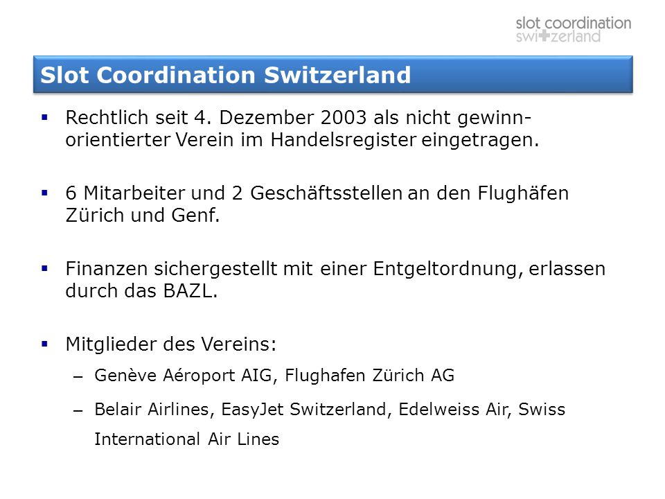 Slot Coordination Switzerland