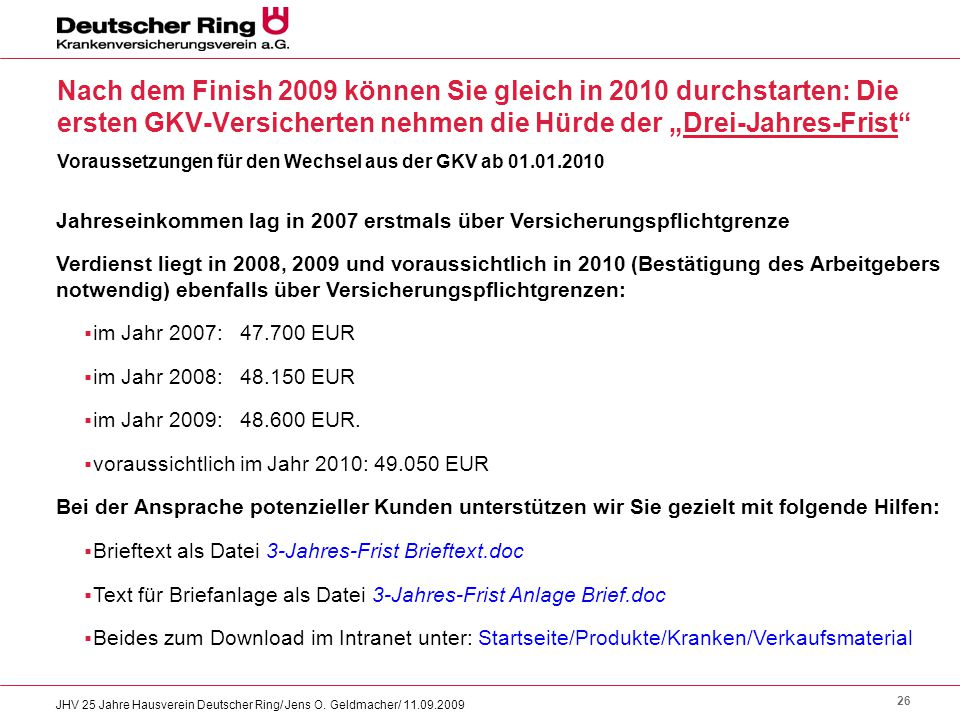 """Nach dem Finish 2009 können Sie gleich in 2010 durchstarten: Die ersten GKV-Versicherten nehmen die Hürde der """"Drei-Jahres-Frist"""