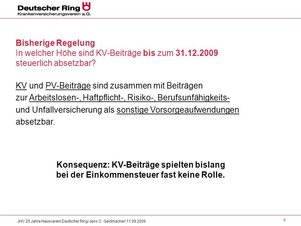 In welcher Höhe sind KV-Beiträge bis zum 31.12.2009