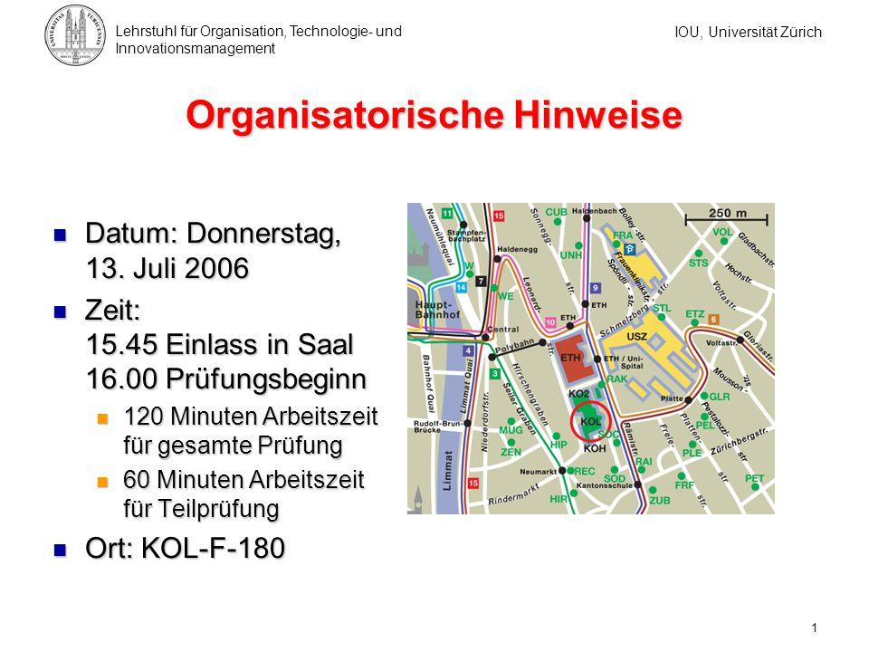 Organisatorische Hinweise