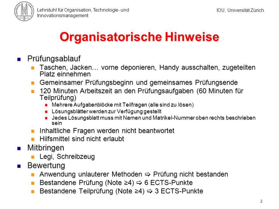 Prüfungsaufbau Gesamtprüfung Organisation II A & B
