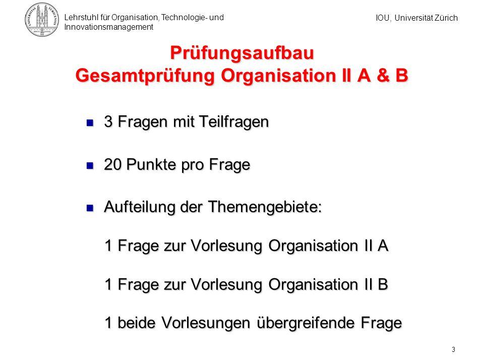 Prüfungsaufbau Teilprüfungen Organisation IIA oder IIB