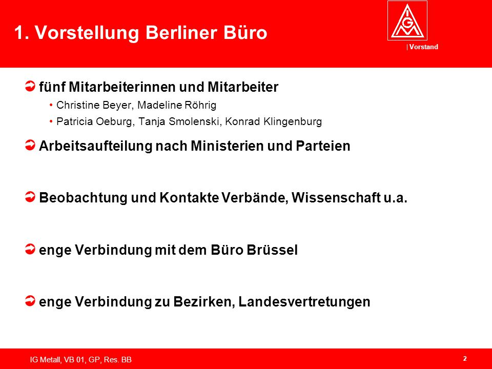 1. Vorstellung Berliner Büro
