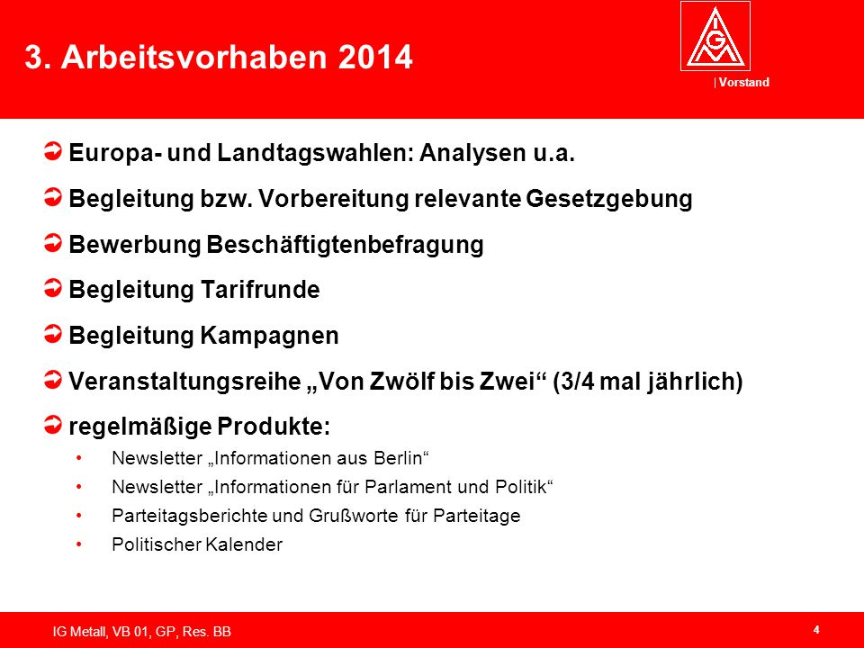3. Arbeitsvorhaben 2014 Europa- und Landtagswahlen: Analysen u.a.