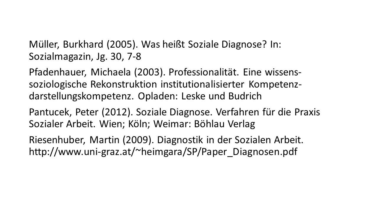 Müller, Burkhard (2005). Was heißt Soziale Diagnose