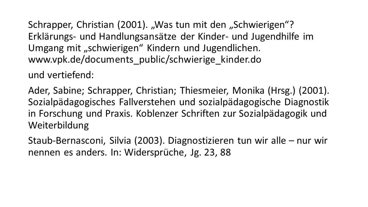 """Schrapper, Christian (2001). """"Was tun mit den """"Schwierigen"""
