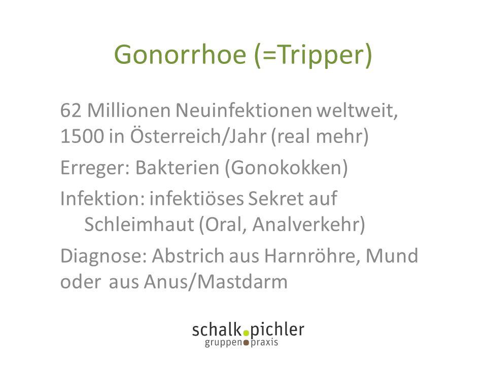 Gonorrhoe (=Tripper) 62 Millionen Neuinfektionen weltweit, 1500 in Österreich/Jahr (real mehr) Erreger: Bakterien (Gonokokken)