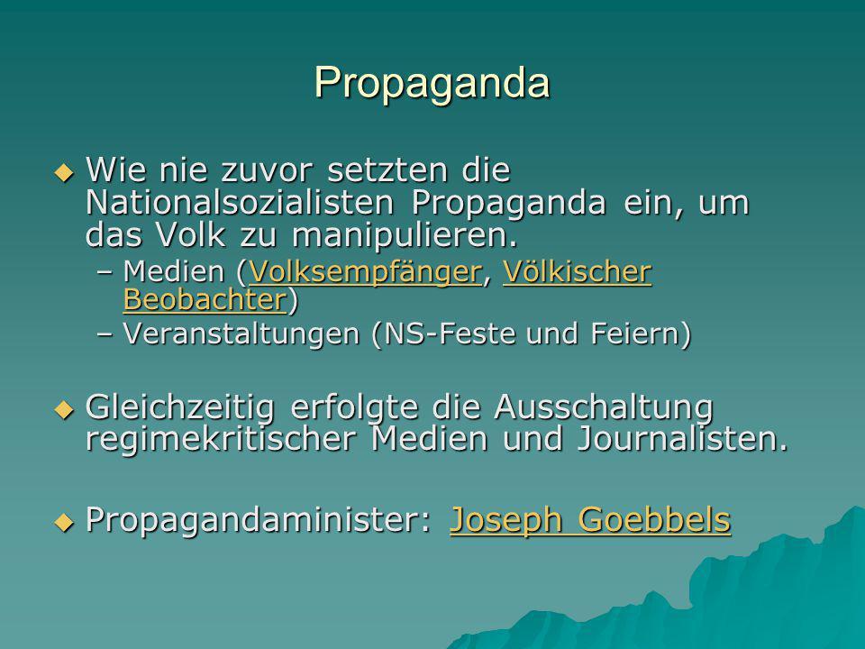 Propaganda Wie nie zuvor setzten die Nationalsozialisten Propaganda ein, um das Volk zu manipulieren.