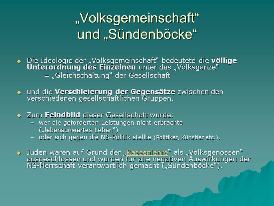 """""""Volksgemeinschaft und """"Sündenböcke"""