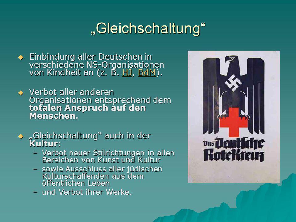 """""""Gleichschaltung Einbindung aller Deutschen in verschiedene NS-Organisationen von Kindheit an (z. B. HJ, BdM)."""