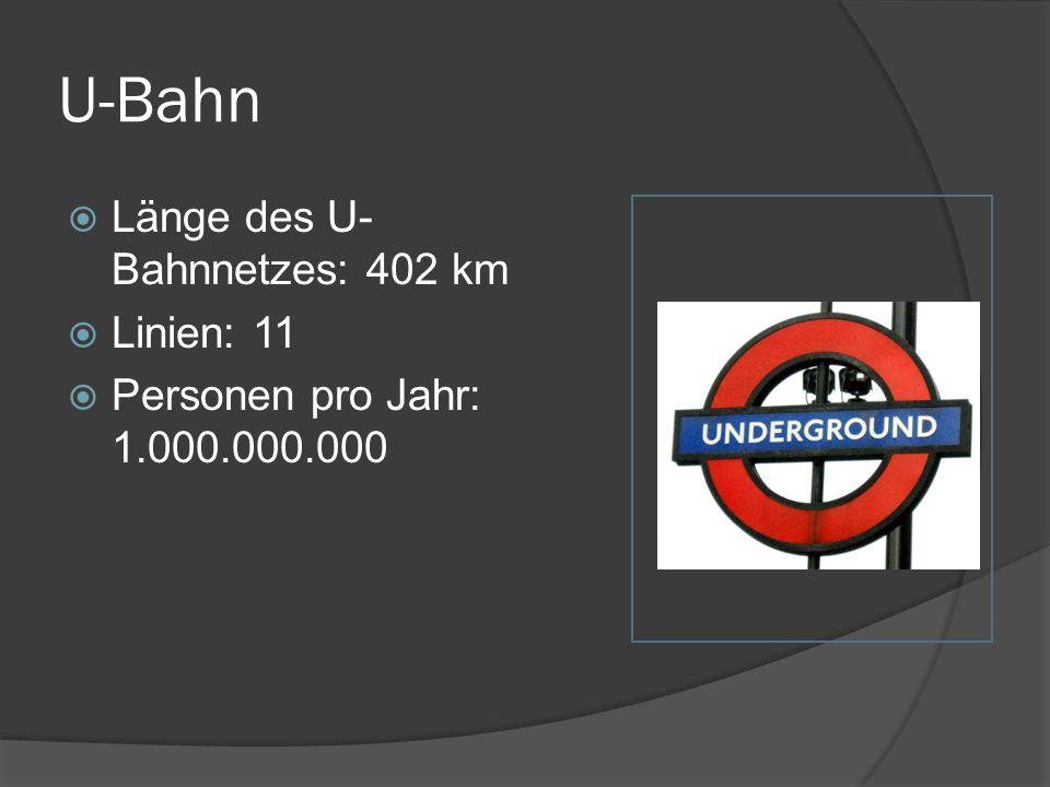 U-Bahn Länge des U-Bahnnetzes: 402 km Linien: 11