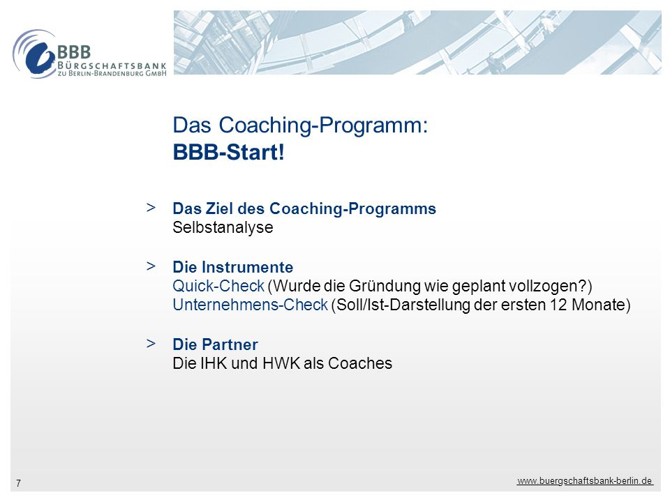 Das Coaching-Programm: BBB-Start!