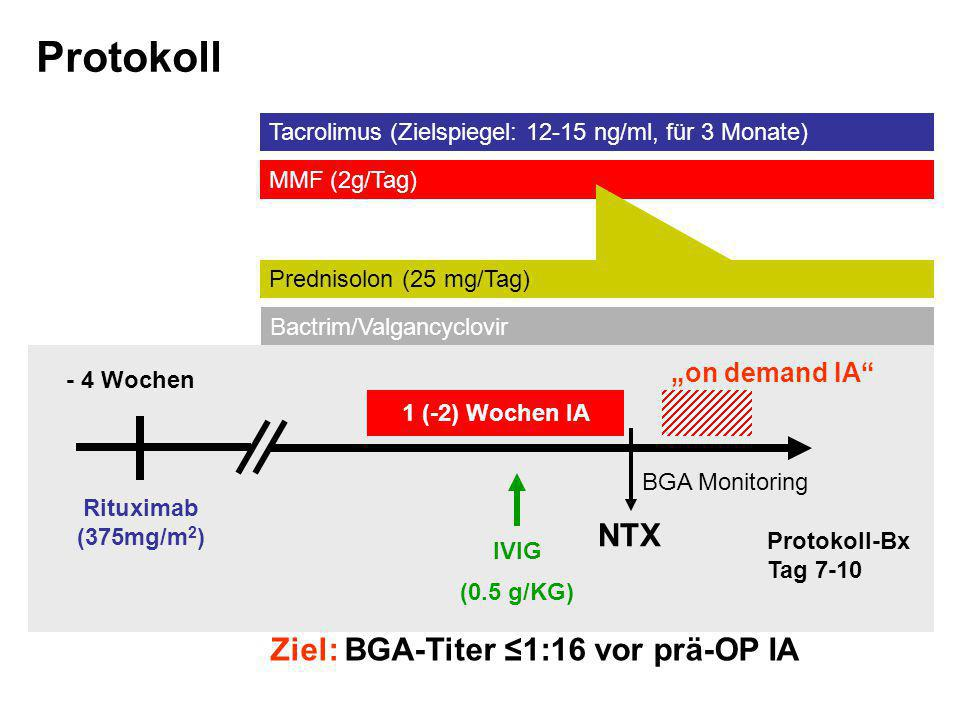 "Protokoll NTX Ziel: BGA-Titer ≤1:16 vor prä-OP IA ""on demand IA"