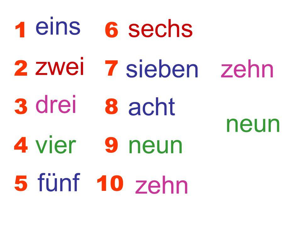 eins sechs zwei sieben zehn drei acht neun vier neun fünf zehn 1 6 2 7