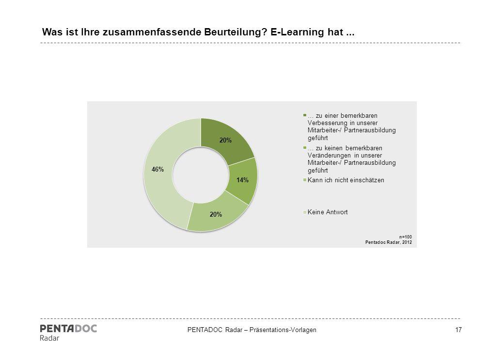 Was ist Ihre zusammenfassende Beurteilung E-Learning hat ...