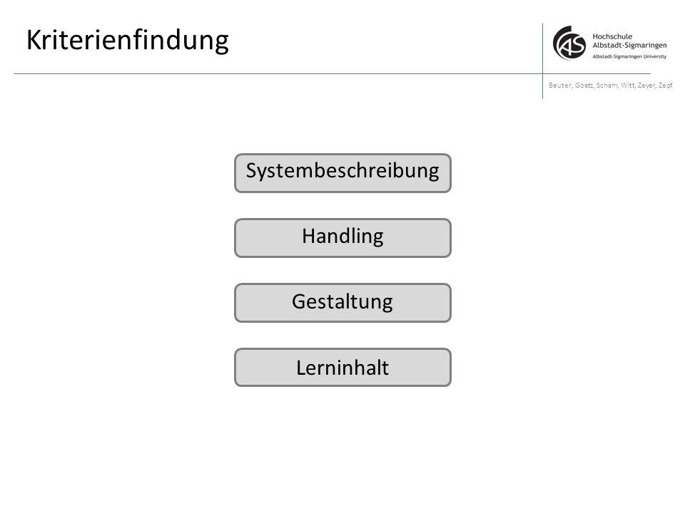 Kriterienfindung Systembeschreibung Handling Gestaltung Lerninhalt
