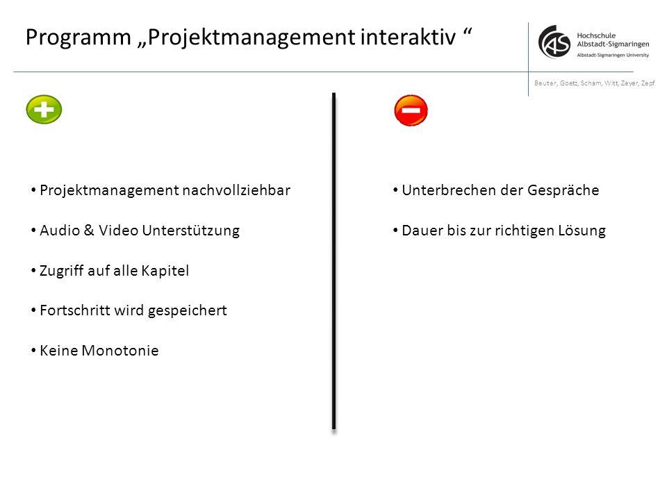 "Programm ""Projektmanagement interaktiv"