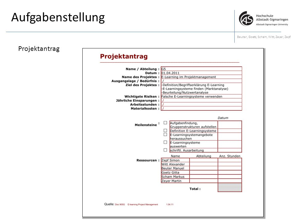 Aufgabenstellung Beuter, Goetz, Scham, Witt, Zeyer, Zepf Projektantrag