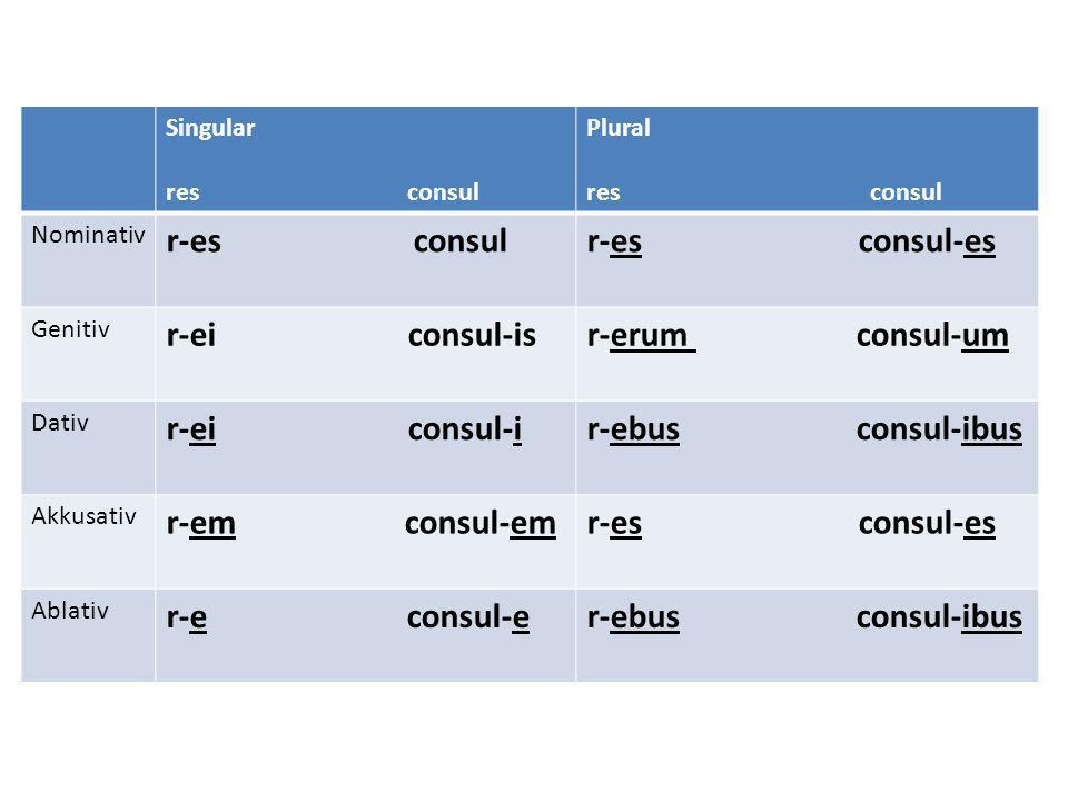 r-es consul r-es consul-es r-ei consul-is r-erum consul-um