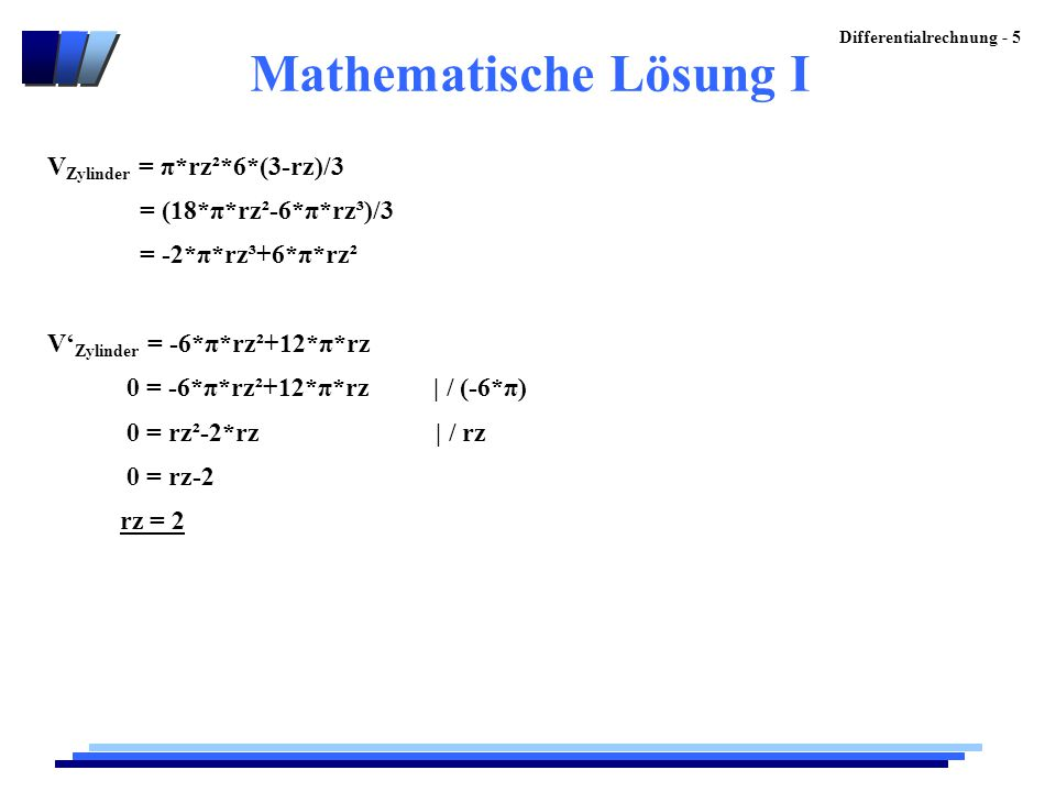 Mathematische Lösung I